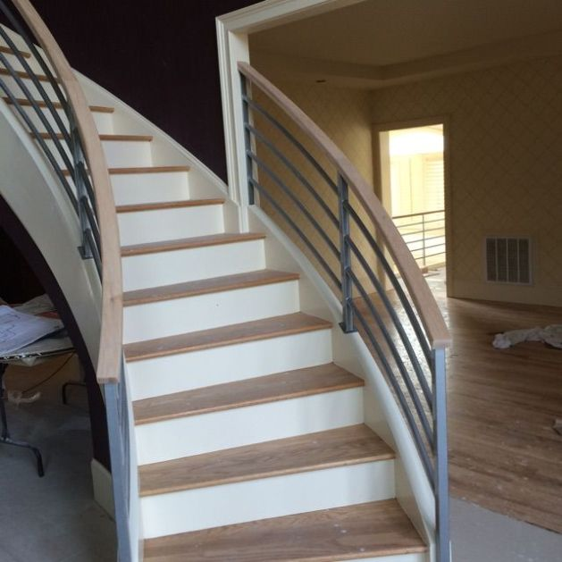 Modern Curved Staircase Custom Remodel