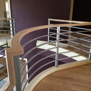 Modern Nickel Finish Railing for Stairs