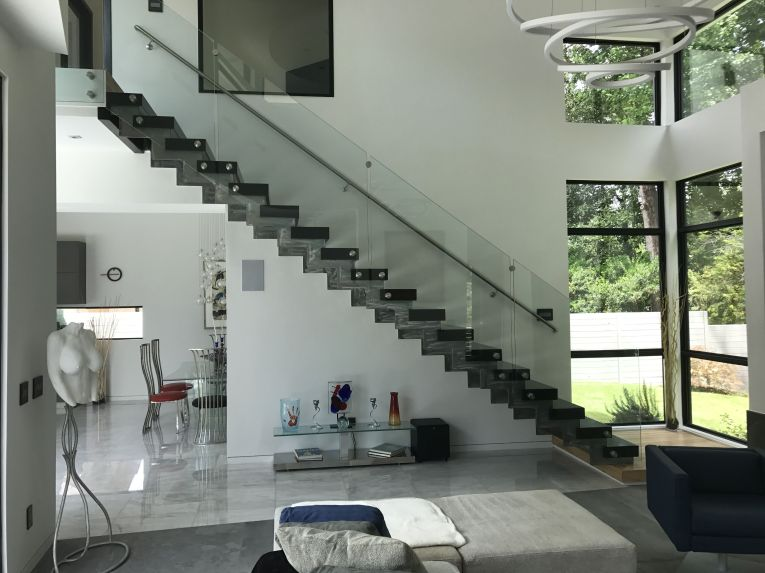 Modern Straight Stairs with Glass Panels