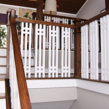Modern White and Contrasting Railing