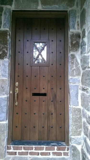 42 - Custom Mahogany Solid Door with mail box entry