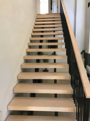 Contemporary and Transitional Full open straight stair