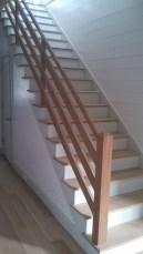 Farmhouse straight stair with 2 x 6 rails
