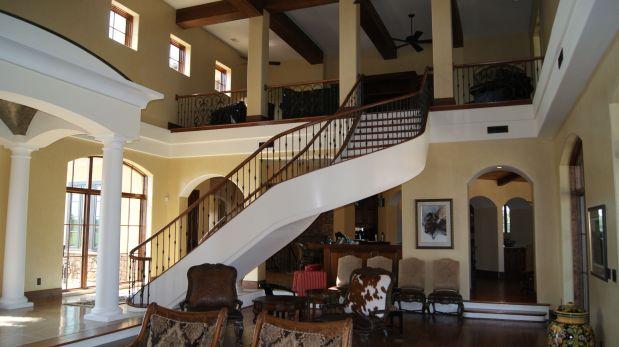 Walnut Double Open Freestanding Curve Stairway