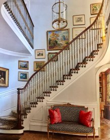 French Country Curved Stairs with Balusters mounted to side