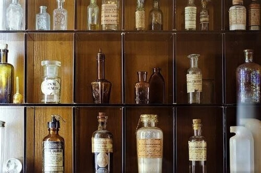 Bottles in the pharmacy museum in Grodno
