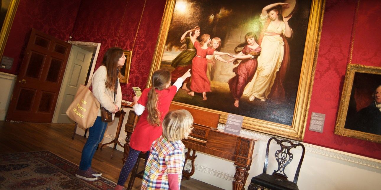 Kendal Arst & Culture - Family viewing paintings at Abbot Hall Art Gallery