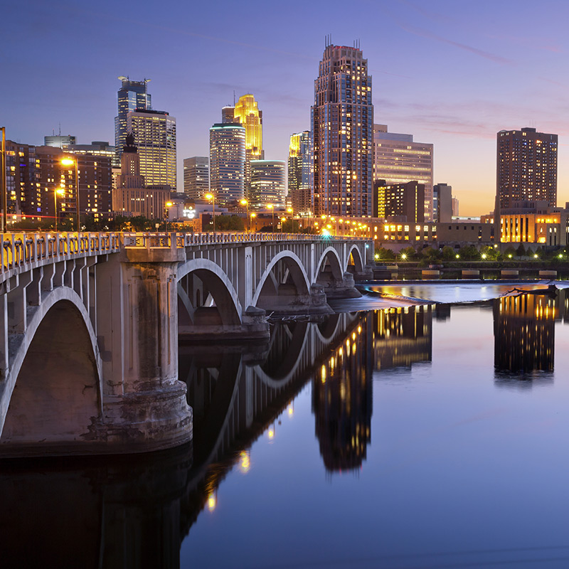 Evening Shot of Downtown Minneapolis against the Mississippi River