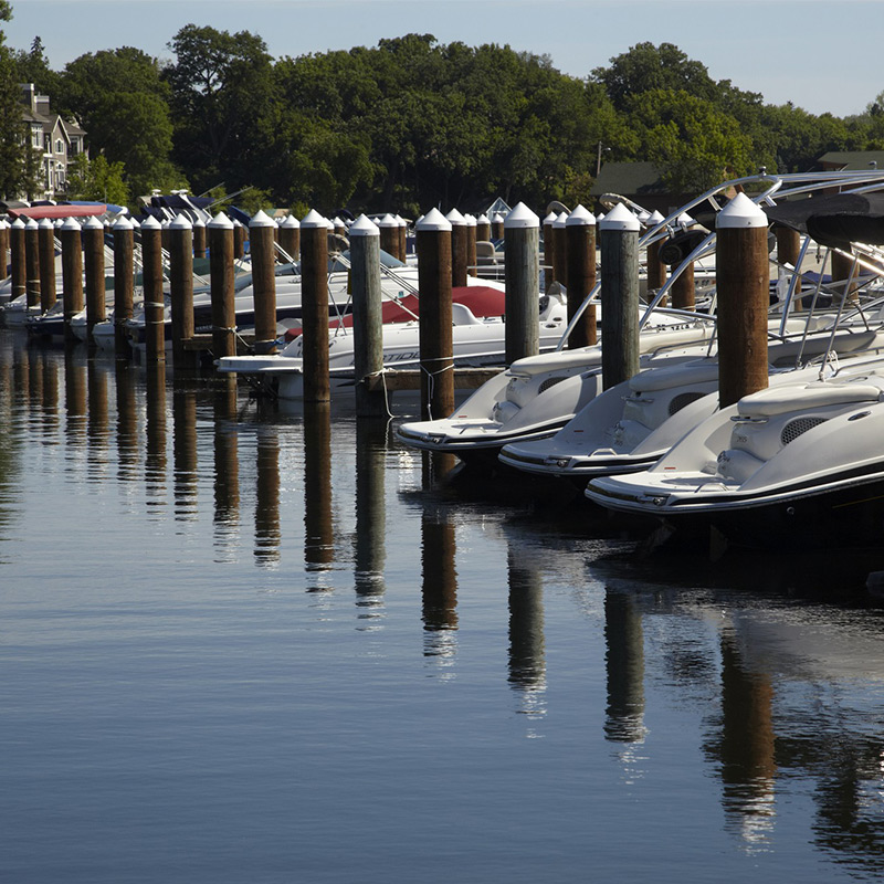 wayzata yacht club lake and boat collection with nice reflection