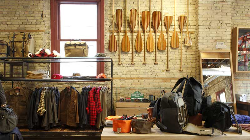 clothes and gear at the filson store in minneapolis