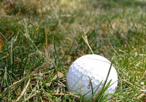 Golf ball laying on turf