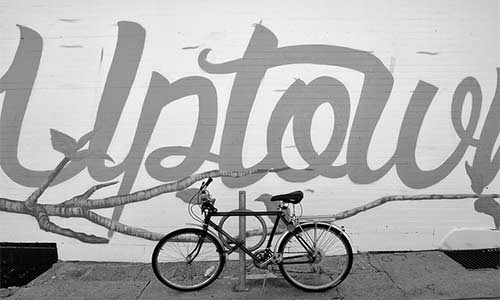 Uptown mural in black and white