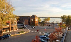 Downtown Wayzata with Lake Minnetonka in the background at sunset