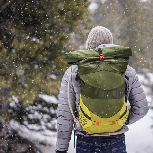 Man hiking in snow
