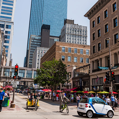 A few transportation options in downtown Minneapolis