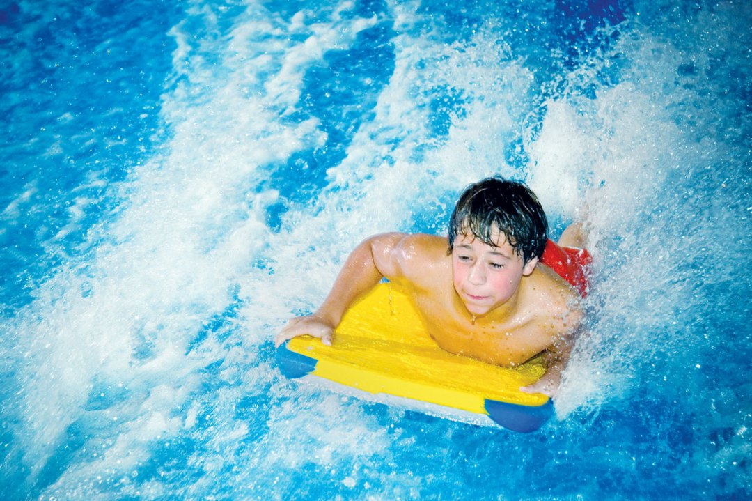 "FlowRider Surf Simulator. Image by  <a href=""https://www.waterparkofamerica.com/index.php"" target=""_blank"">Water Park of America</a>"