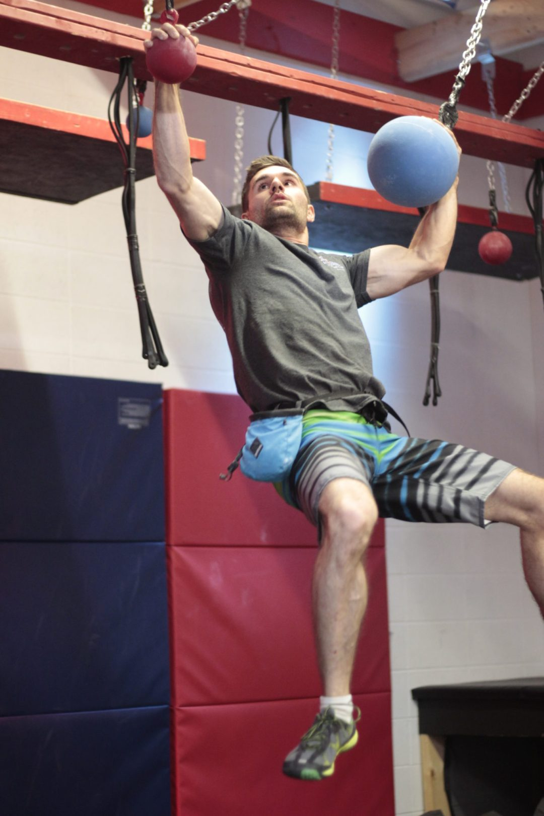 "Swinging Globes Obstacle. Image by  <a href=""http://www.conquermn.com/"" target=""_blank"">Conquer Ninja Warrior</a>"