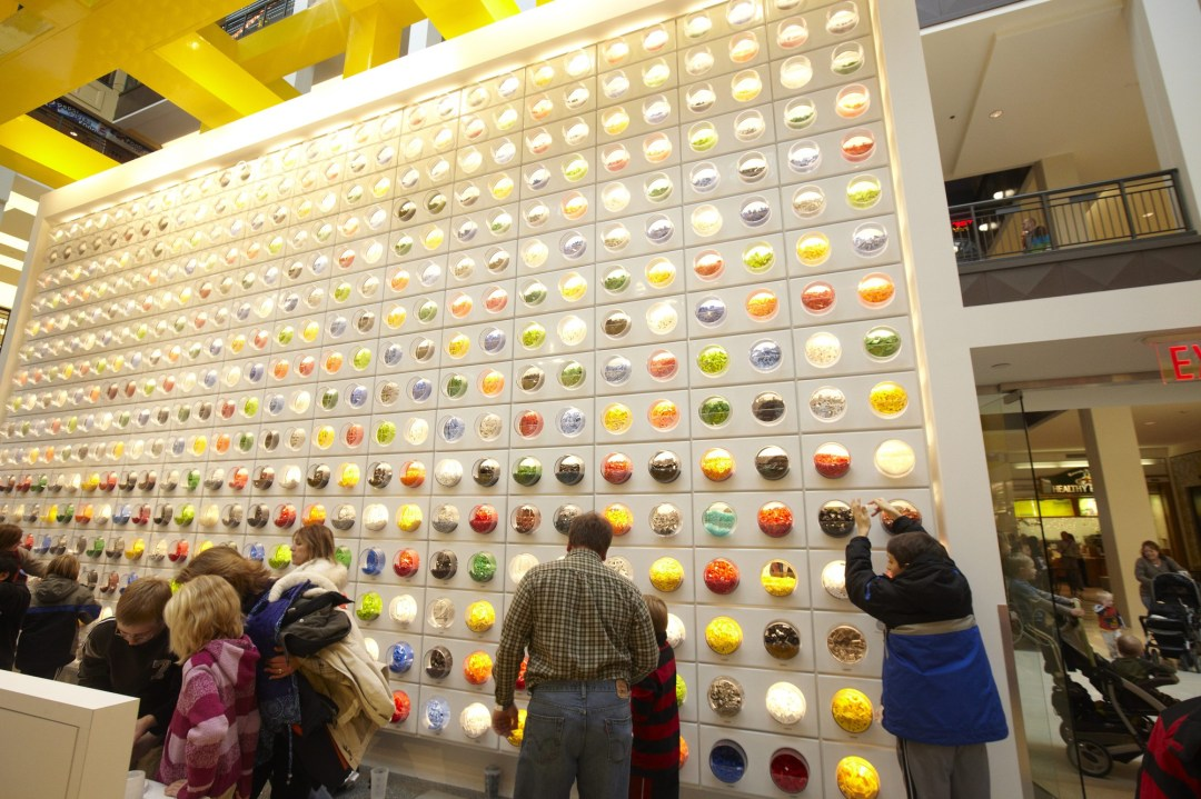 Wall of legos at Mall of America