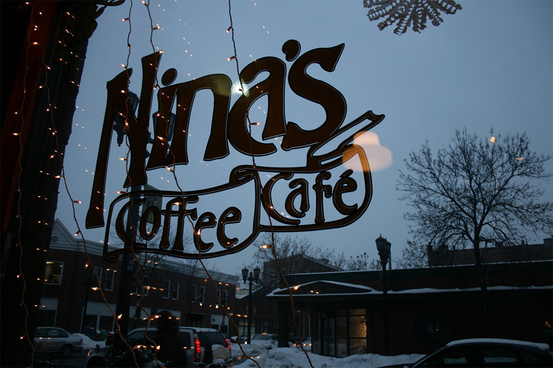 Ninas Coffee Cafe store sign