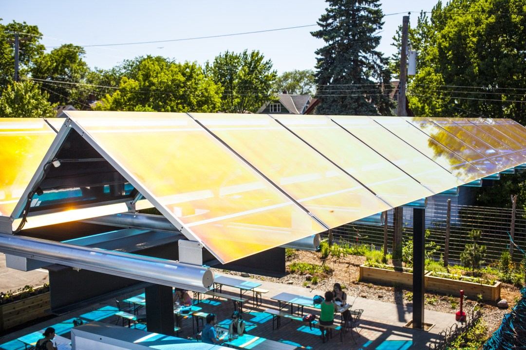 Tiny Diner's Solar Panel Roof. Image by TJ Turner/Greenspring Media