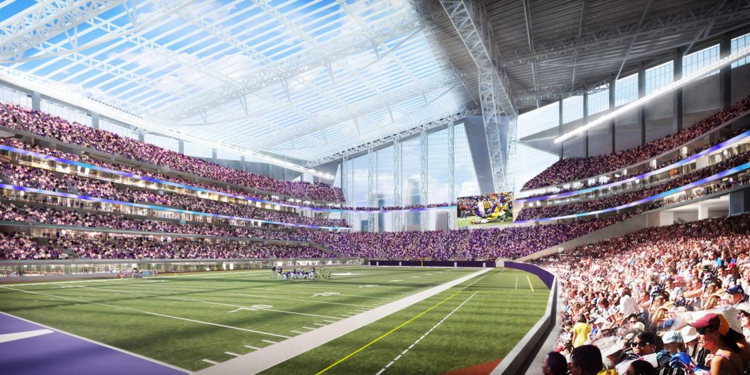 "Lower Bowl Perspective. Image by <a href=""http://www.usbankstadium.com/"" target=""_blank"">U.S. Bank Stadium</a>"