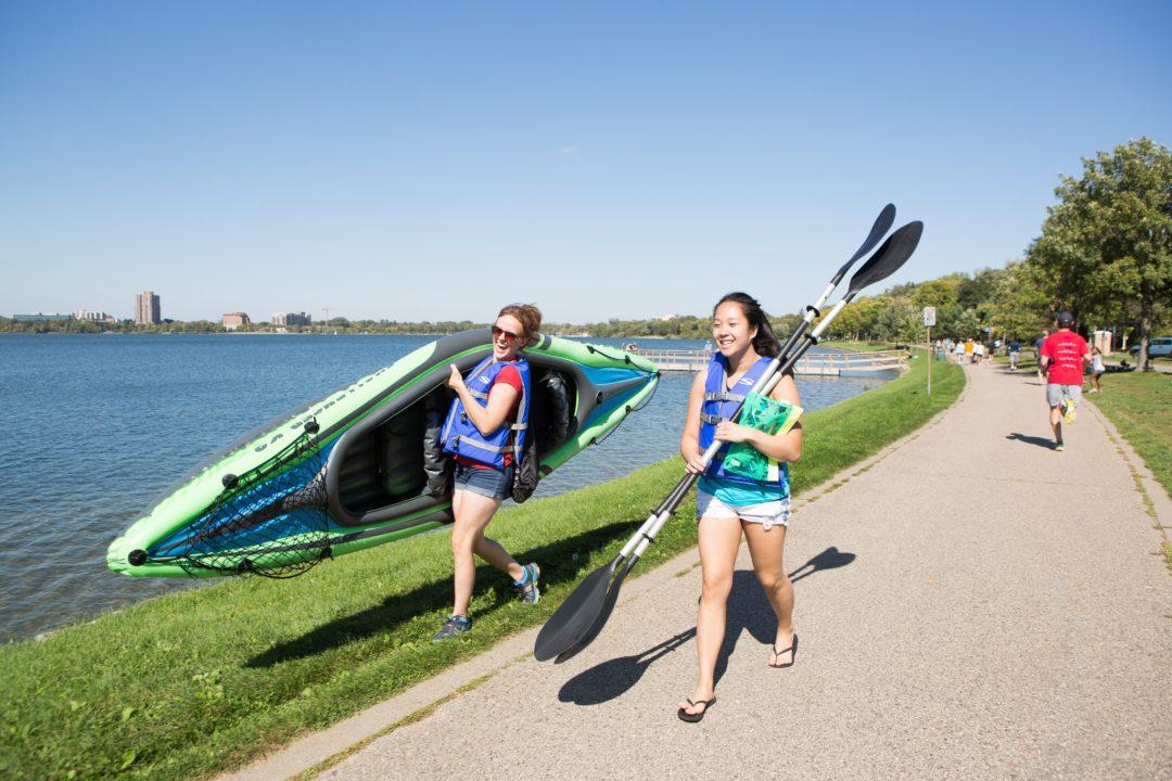 Kayakers preparing to hit the water Photo by Erica Loeks/Greenspring Media