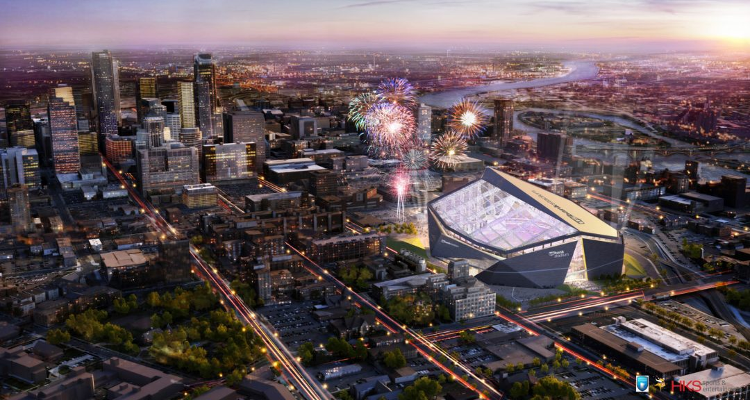 "U.S. Bank Stadium Aerial View. Image by <a href=""http://www.usbankstadium.com/"" target=""_blank"">U.S. Bank Stadium</a>"