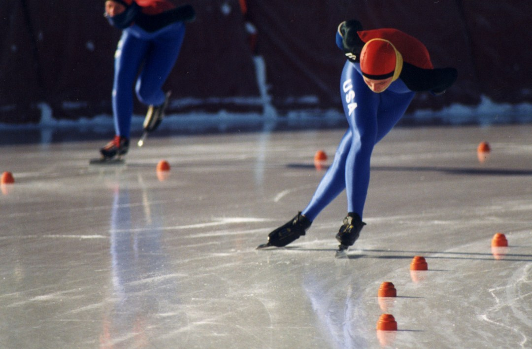 """Speed Skaters Practicing. Image by <a href=""""http://www.skatetheoval.com/page/show/200439-home"""" target=""""_blank"""">Guidant John Rose MN OVAL</a>"""