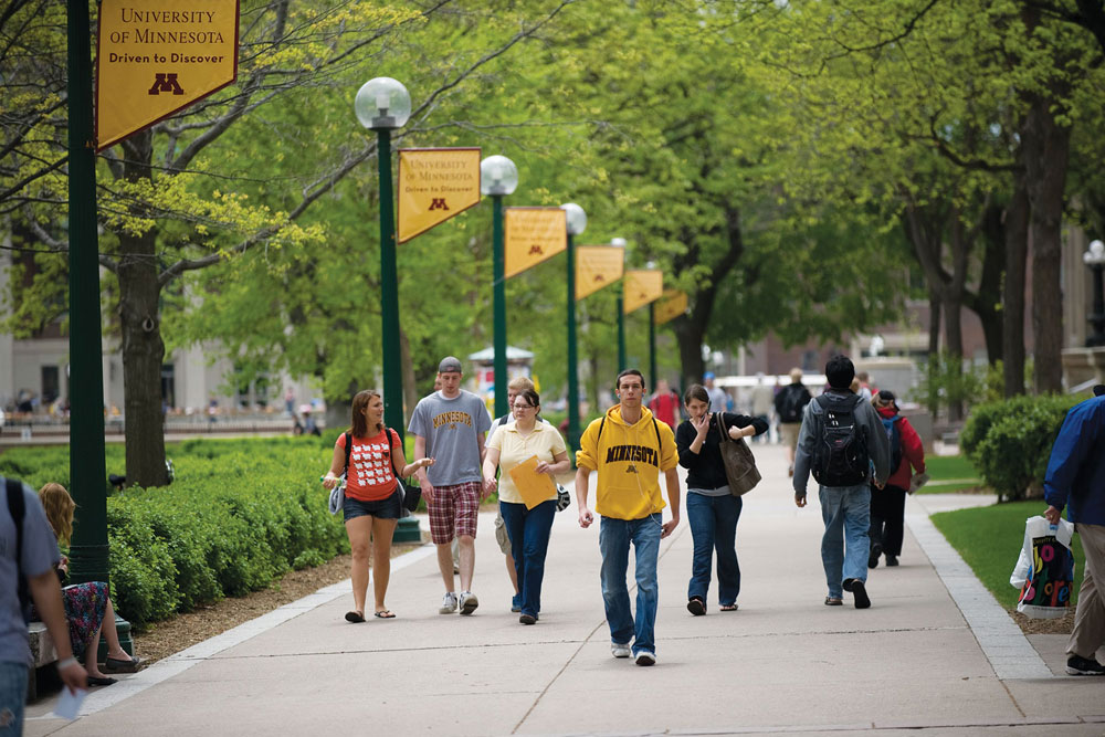 Students walking to class at the University of Minnesota.