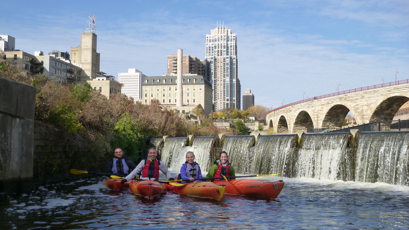Kayaking the Mississippi River with the Minneapolis skyline in the background