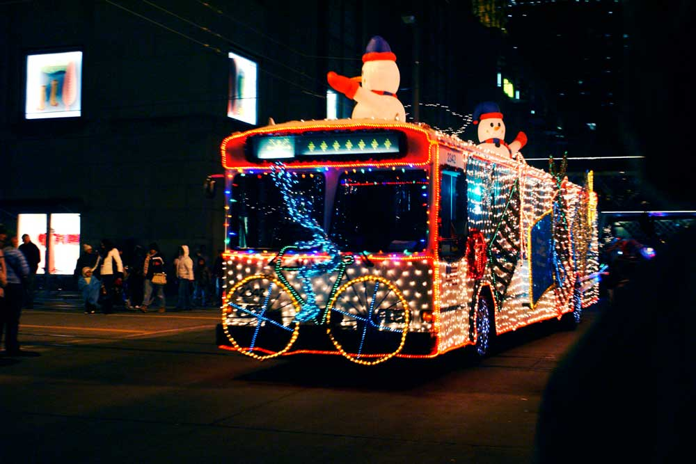 Holidazzle bus in the parade.