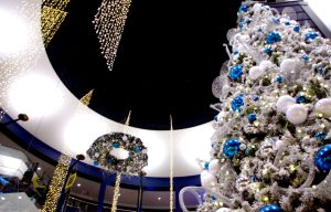 Large Christmas tree decorated for the season at Mall of America's rotunda