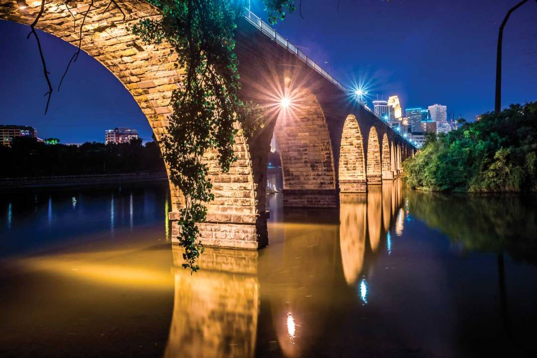Stone Arch Bridge at night. Seven Wonders of the Twin Cities.