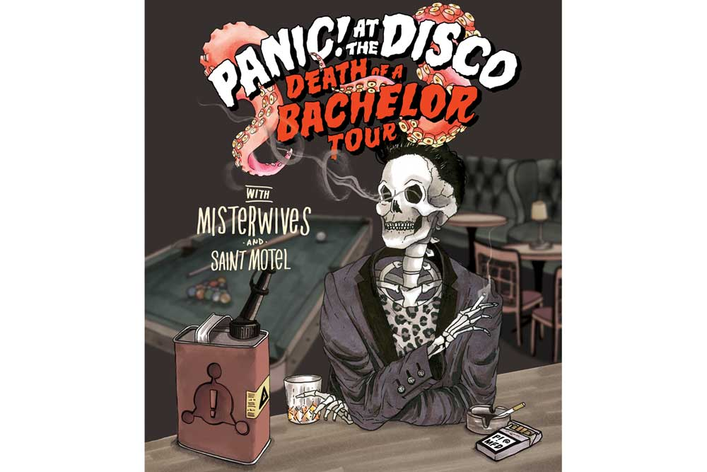 Panic! At The Disco's poster for their Death Of A Bachelor Tour.