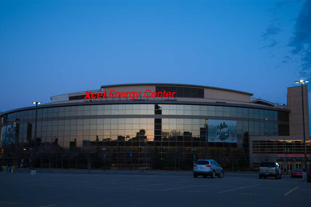Outside the Xcel Energy Center at dusk. One of the many stops along the Metro Transit Green Line.