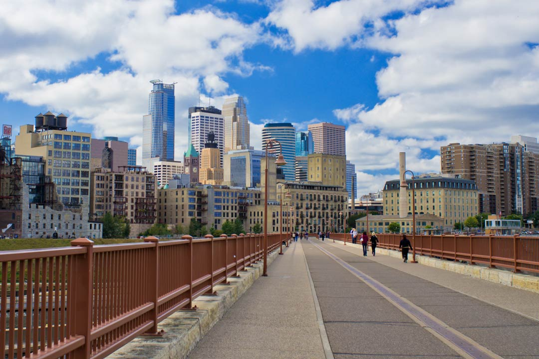 Downtown Minneapolis Skyline from Bridge