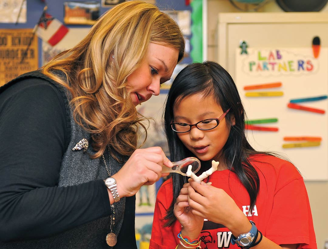 A teacher and student at Minnehaha Academy