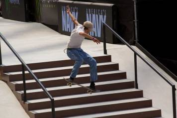 Jagger Eaton skateboarding over stairs at X Games Minneapolis 2017.