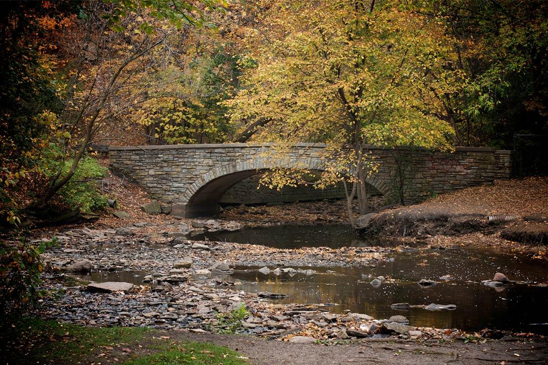 A bridge over the creek down from Minnehaha Falls at Minnehaha Regional Park.