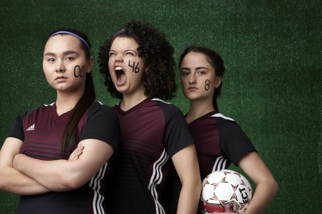 """Photo by William Clark, courtesy of Jungle Theater. Three of the fierce soccer players in """"The Wolves"""" this spring."""