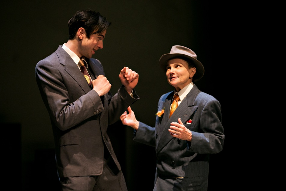 Photo by Lauren B Photography. Dancing with Giants at Illusion Theater. Sam Bardwell as Max Schmeling fake fighting with his friend and boxing manager, Joe Jacobs, played by Tovah Feldshuh.