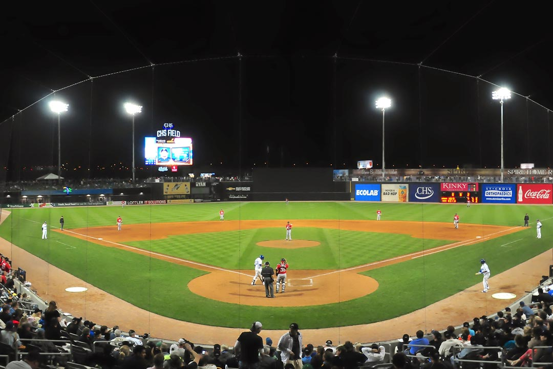 CHS Field, home of the St. Paul Saints, at night.