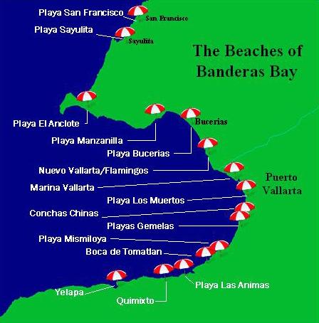 Beaches Of Puerto Vallarta Map Puerto Vallarta Banderas Bay And Sayulita