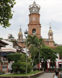 Centro / Downtown: Our Lady of Guadalupe Church with Crown in Puerto Vallarta Mexico
