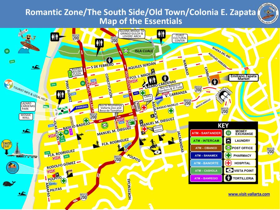 JPEG Map of Old Town Puerto Vallarta. AKA Romantic Zone, South Side, Colonia Emiliano Zapata