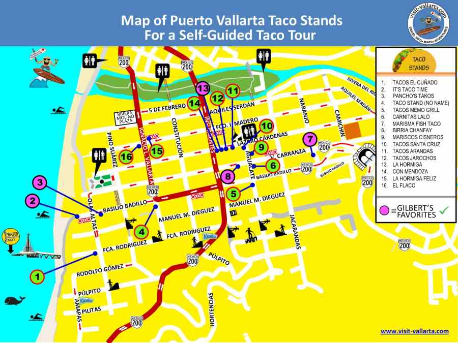 This is a map of the taco stands in Puerto Vallarta for self-guided tour