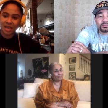 Dyana Williams being interviewed by The Breakfast Club's Angela Yee and DJ Envy