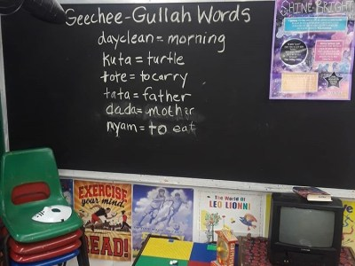 Chalkboard at Hog Hammock Library. Chalkboard has definitions to Geechee Gullah words