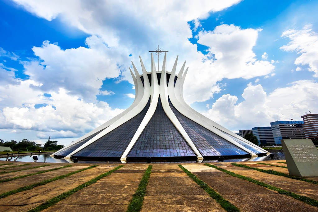 Brasilia, Brazil - November 17, 2015: Nossa Senhora Aparecida Cathedral, designed by Brazilian architect Oscar Niemeyer in Brasilia, capital of Brazil.