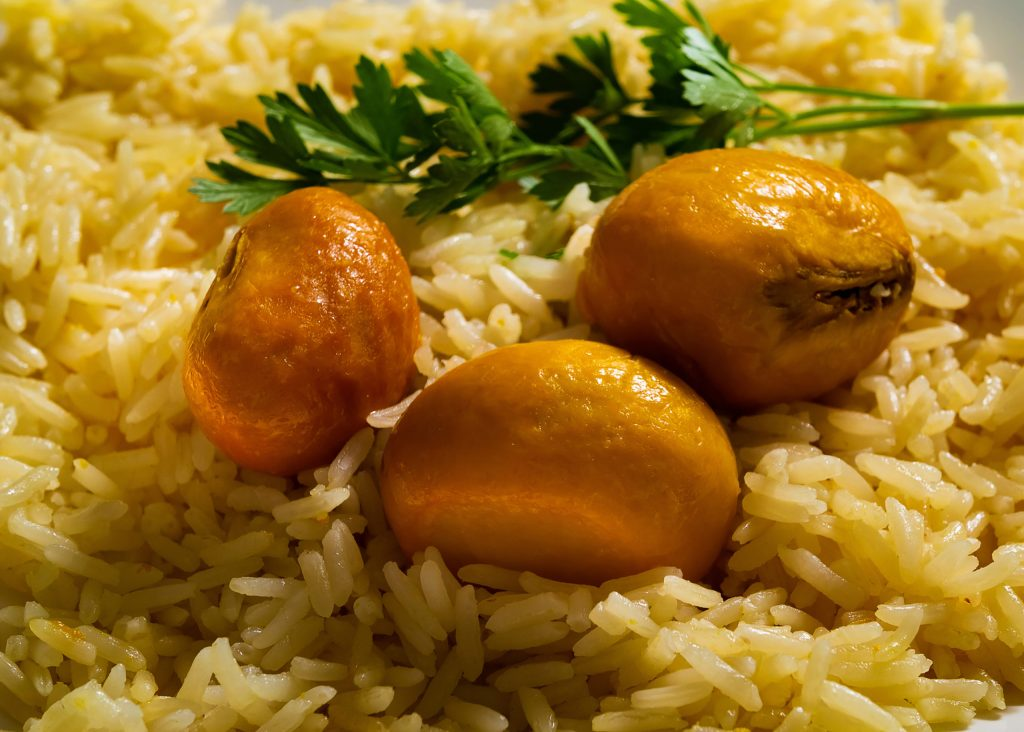 Goiania, Goias, Brazil – February 14, 2021: Rice with pequi - a typical dish from the center-west of Brazil.
